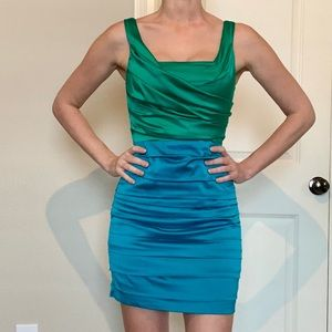 Express Ruched Jewel Two-Tone Cocktail Dress
